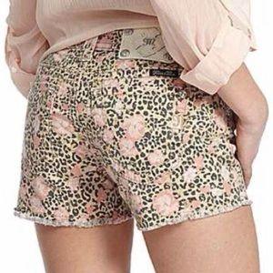Miss Me Cheetah Print Floral Shorts Size 27